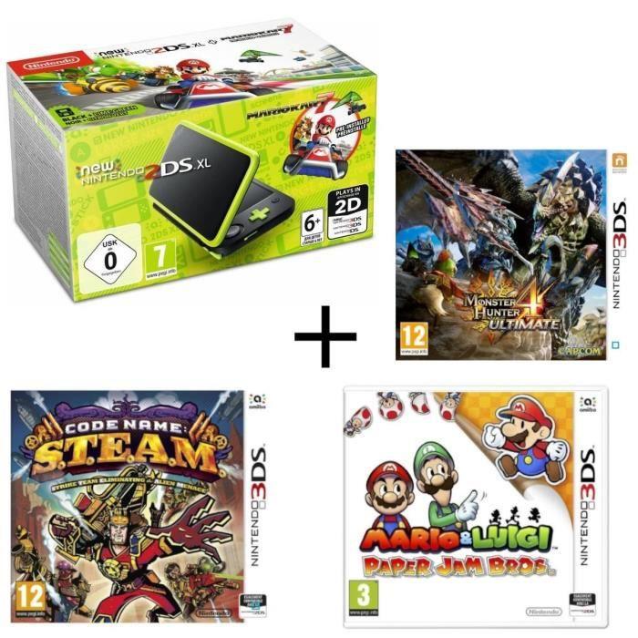 New DS XL Noir et Citron + Monster Hunter 4 Ultimate + Mario & Luigi Paper Jam + Code Name : STEAM