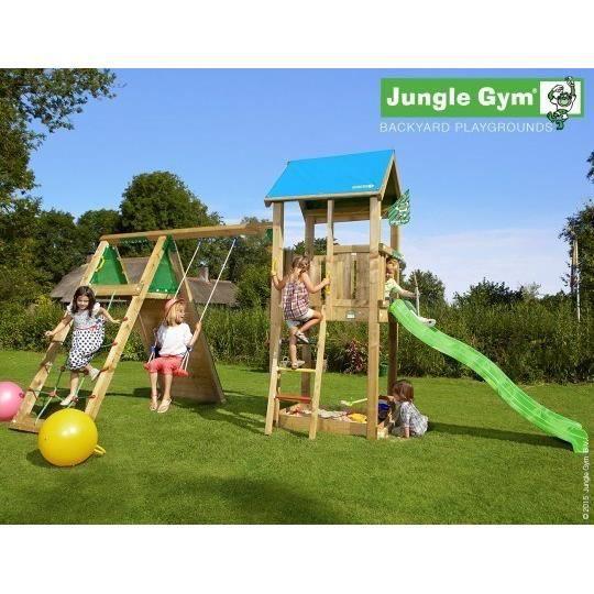 TRIGANO Aire de Jeux Jungle Gym Castle Climb X'Tra E - Hydro tobggan de 2,20m de glisse et Balançoire