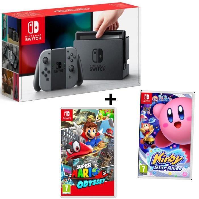 Pack NINTENDO Console Switch Joy-Cons gris + Jeu Kirby Star Allies + Jeu Mario Odyssey