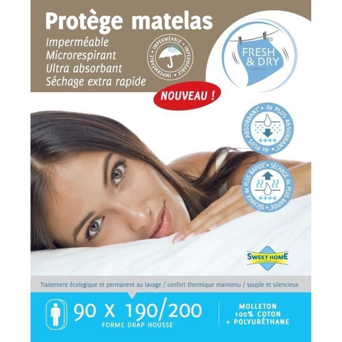 SWEET HOME Protège-matelas Sara Fresh and Dry 90x190/200 cm blanc