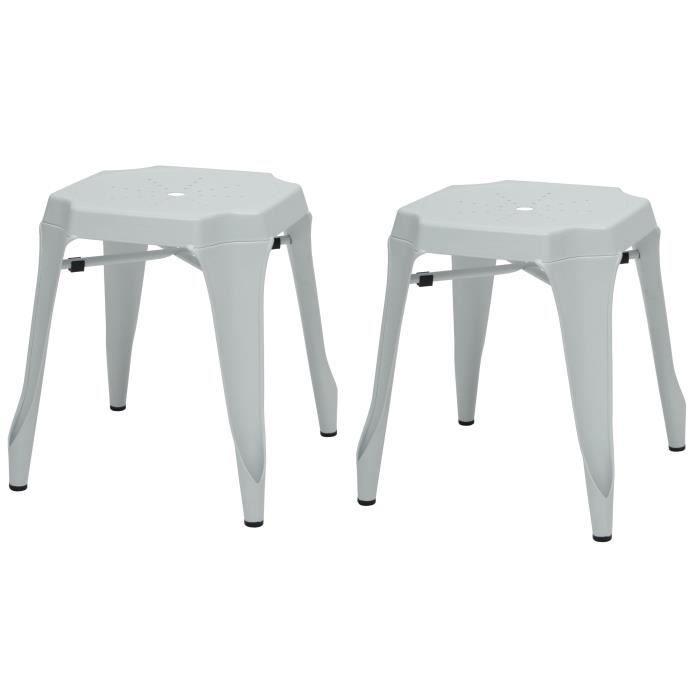 KRAFT Amy Lot de 2 tabourets en métal blanc mat - Style industriel - L 42 x P 42 cm - Assise H 44cm