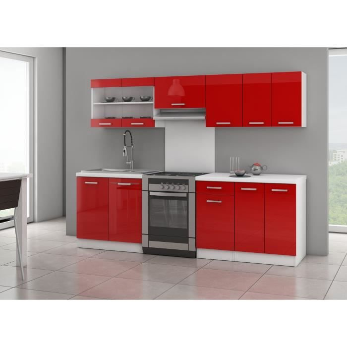 ULTRA Cuisine complète avec plan de travail L 2m40 - Rouge laqué brillant