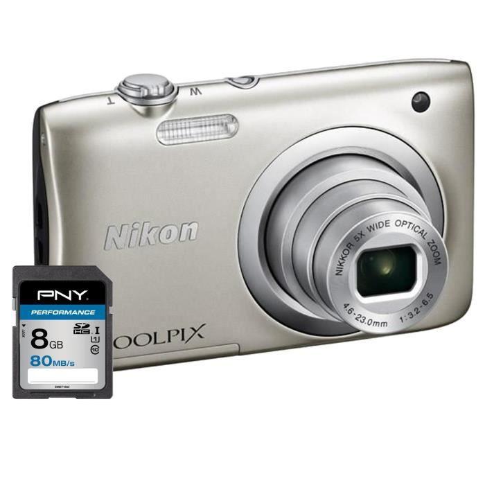 NIKON COOLPIX A100 Appareil photo numérique Compact - 20,1 mégapixels - Zoom NIKKOR - Silver + Carte 8Go