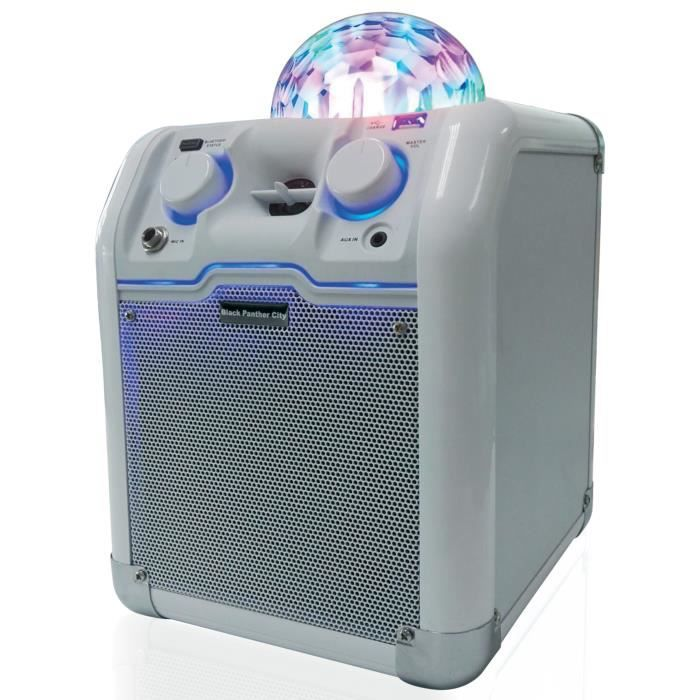 BLACK PANTHER CITY LIGHT PARTY WHITE Sono mobile disco - 25W - Bluetooth - Blanche