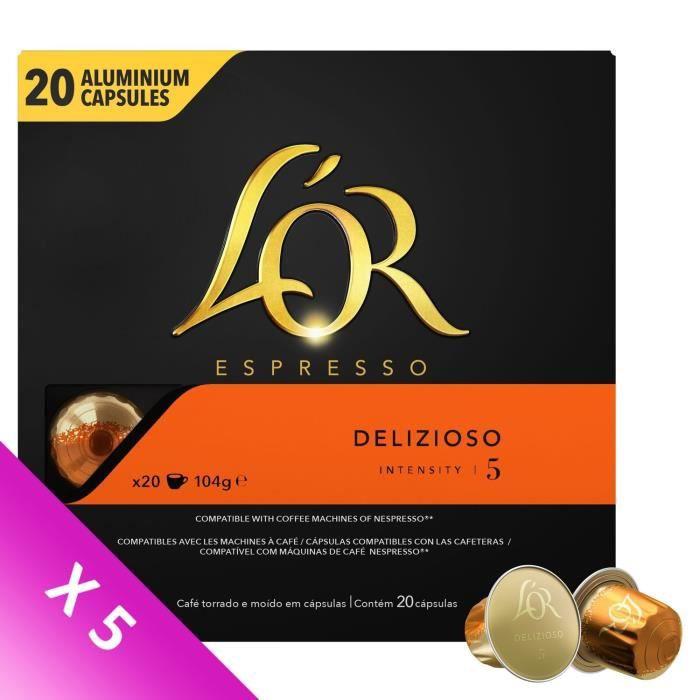 L'OR ESPRESSO Café Delizioso Intensité 5 - 5 paquets de 20 capsules en aluminium