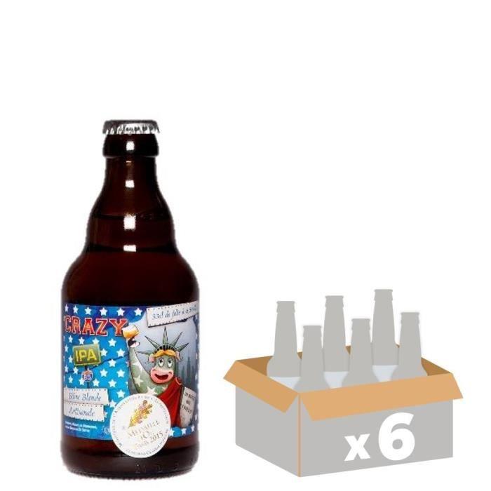 DE SUTTER - CRAZY IPA - Bière Blonde - 6x 33 cl - 6,5 % - Fabriquée en FranceBIERE