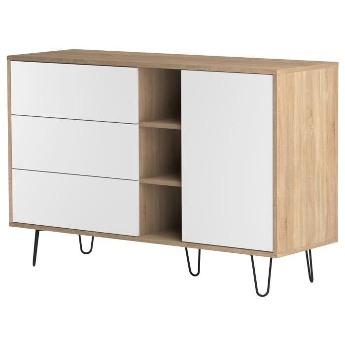 aero buffet bas vintage pieds en m tal d cor ch ne naturel et blanc l 120 cm achat vente. Black Bedroom Furniture Sets. Home Design Ideas