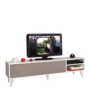 oslo meuble tv 165cm coloris taupe et blanc achat vente meuble tv oslo meuble tv sur pieds. Black Bedroom Furniture Sets. Home Design Ideas