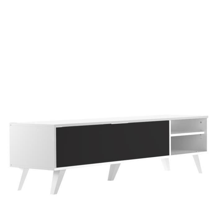 oslo meuble tv 165cm coloris noir et blanc achat vente meuble tv oslo meuble tv sur pieds. Black Bedroom Furniture Sets. Home Design Ideas