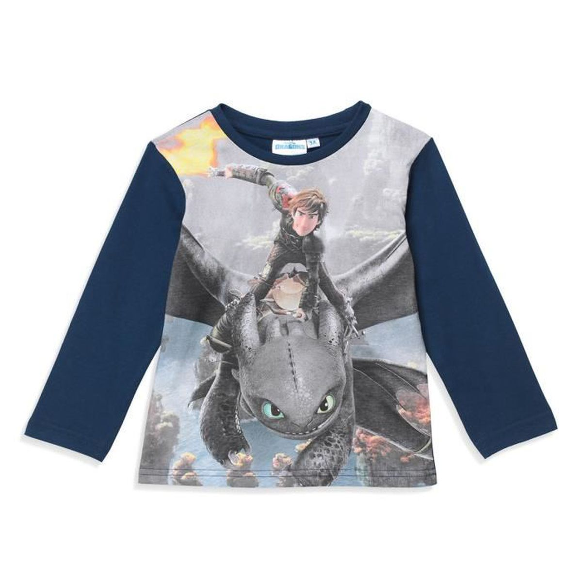 T-SHIRT DRAGONS 3 - T-shirt Manches longues - Marine - Gar