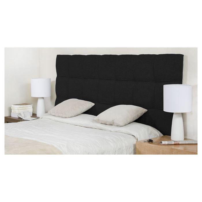 finlandek t te de lit kyn contemporain en bois massif rev tement tissu noir l 174 cm achat. Black Bedroom Furniture Sets. Home Design Ideas