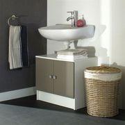 MEUBLE VASQUE - PLAN GALET Meuble sous lavabo L 60cm - Blanc et taupe