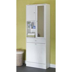 colonne armoire sdb galet armoire de toilette l 60 cm blanc mat