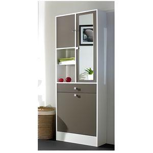 COLONNE - ARMOIRE SDB GALET Armoire de toilette L 60 cm - Blanc et taupe