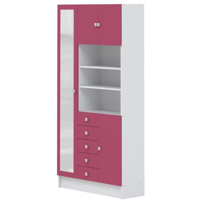 galet armoire de salle de bain l 90 cm blanc et aubergine achat vente colonne armoire. Black Bedroom Furniture Sets. Home Design Ideas