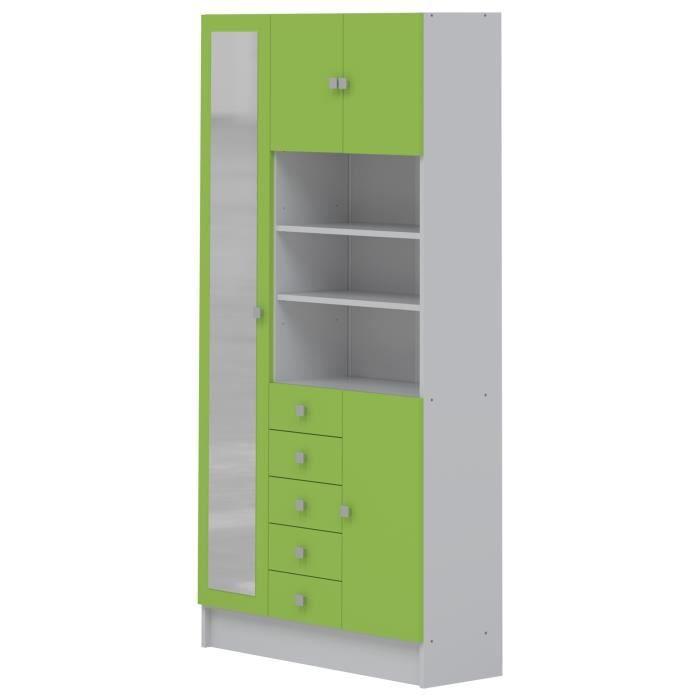 Galet armoire de salle de bain 90 cm blanc et vert pomme for Galets de salle de bain
