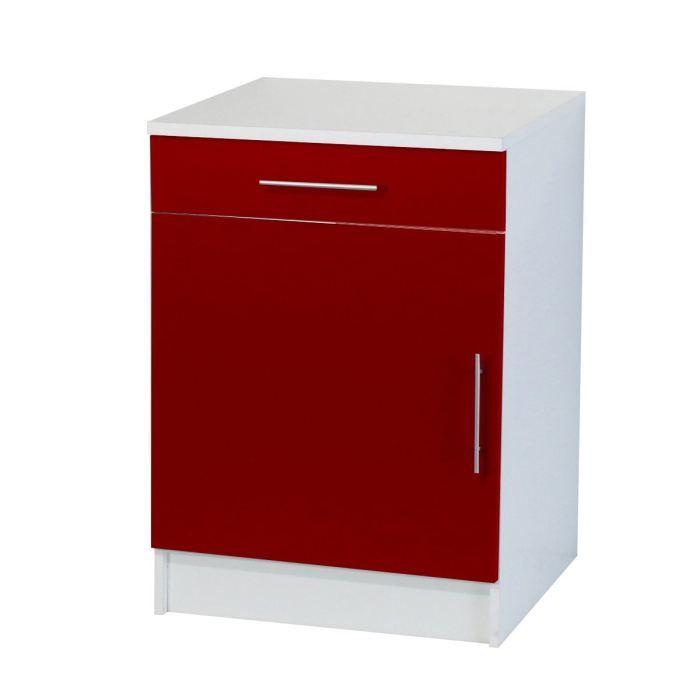 trendy 7 meuble bas 1 porte 1 tiroir l60 cm rouge achat vente elements bas trendy 7 l ment. Black Bedroom Furniture Sets. Home Design Ideas