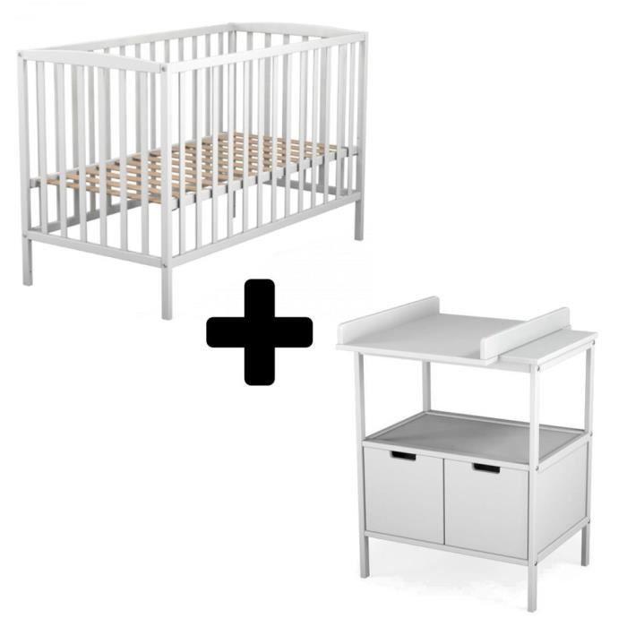 LIT BÉBÉ ATELIERS T4 Lit Bébé à Barreaux 60x120 cm et Table