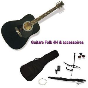 GUITARE DELSON Pack Guitare Folk Montana noir + accessoire