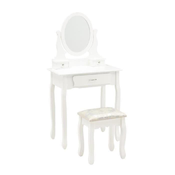 emma coiffeuse tabouret romantique pieds en bois massif laqu blanc brillant l 710 cm. Black Bedroom Furniture Sets. Home Design Ideas