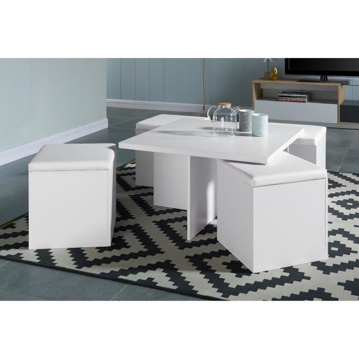 Lila table basse carr e 80x80cm blanc mat 4 poufs en - Table basse carree blanc ...
