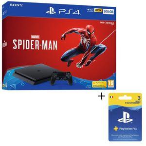CONSOLE PS4 NOUVEAUTÉ Pack PS4 500 Go Noire + Marvel's Spider-Man + Abon