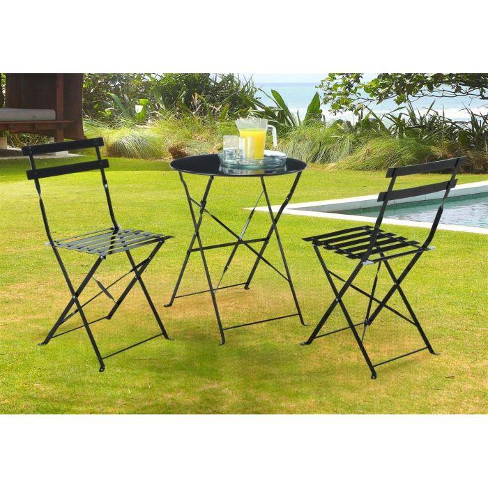 Lot de 2 chaises Bistrot pliantes de jardin noires - Achat / Vente ...