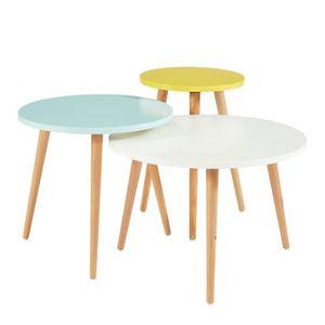 nomade 3 tables gigognes scandinave blanc jaune et. Black Bedroom Furniture Sets. Home Design Ideas