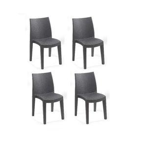 FAUTEUIL JARDIN  Lots de 4 chaises LADY empilable, aspect résine tr