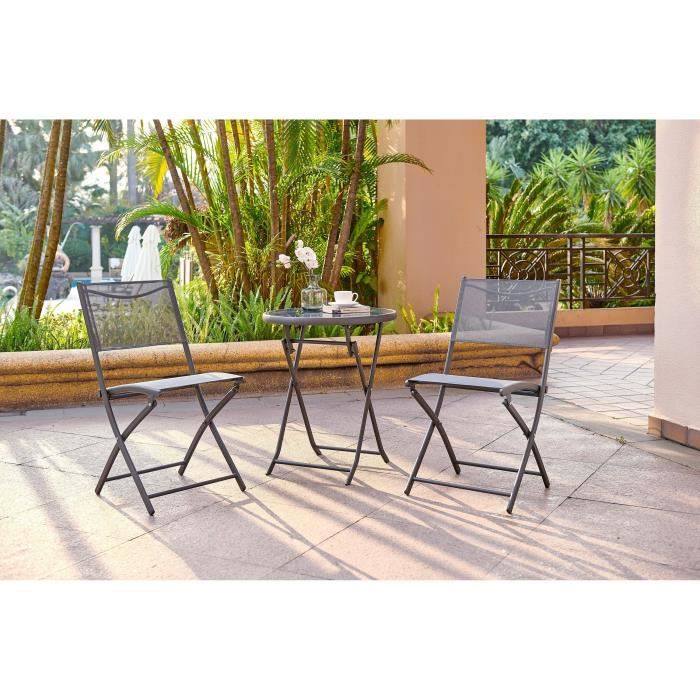 FINLANDEK - Ensemble salon de jardin 2 places - Table ronde pliable plateau  verre trempé chaises pliantes acier - Gris anthracite