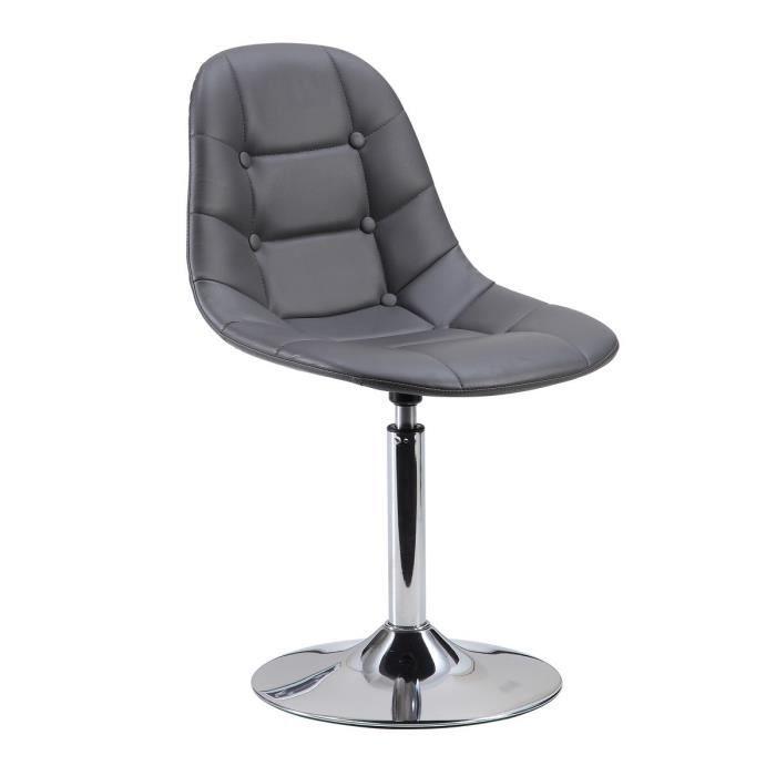 Maya chaise de salle manger en simili gris achat for Chaise salle a manger hauteur assise 50 cm