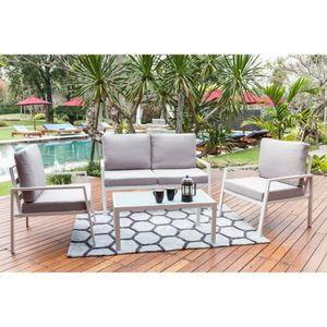 Salon bas de jardin aluminium blanc - Achat / Vente Salon bas de ...