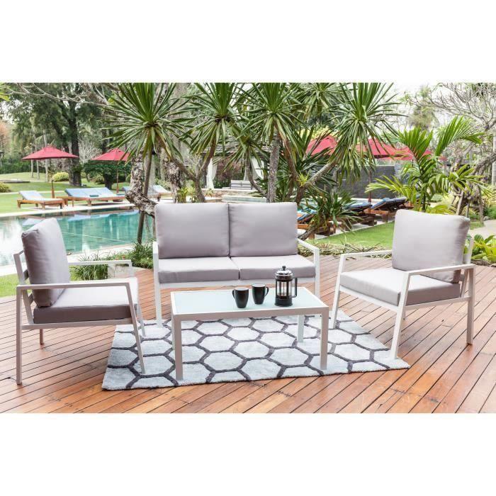 BEAU RIVAGE Salon de jardin en aluminium 4 places avec banquette et  fauteuil Tuvalu - Blanc