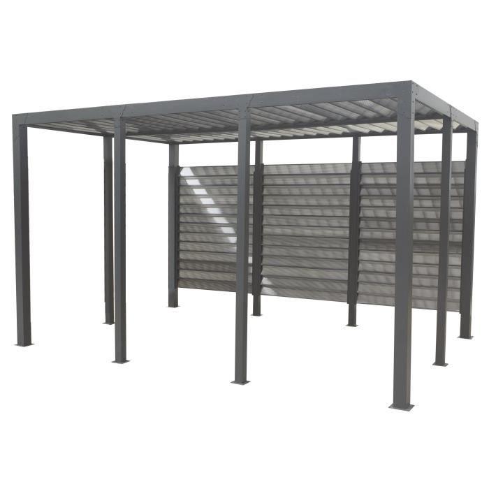 carport aluminium 11 52 m 413 x 279 cm gris anthracite achat vente carport carport. Black Bedroom Furniture Sets. Home Design Ideas