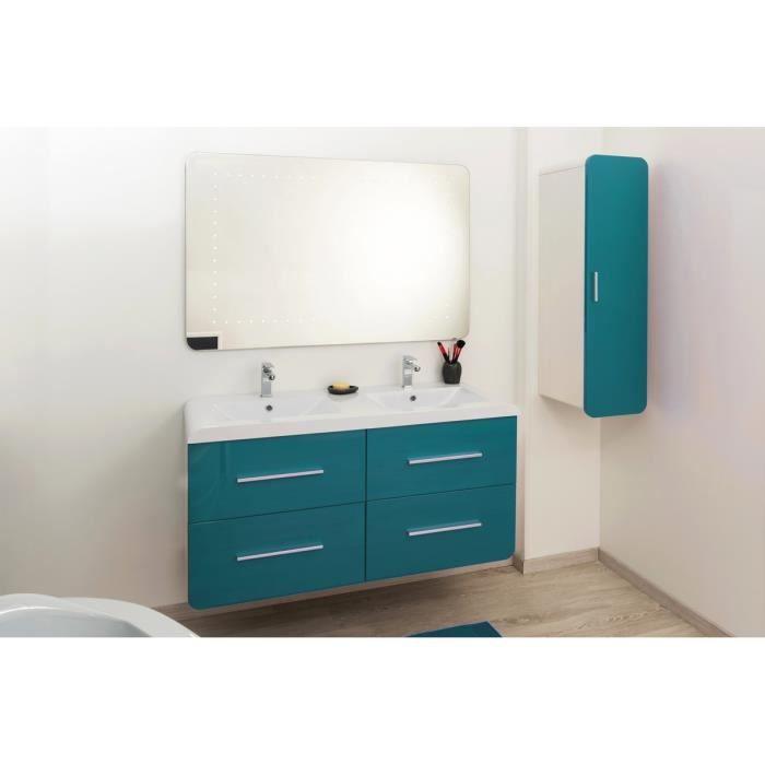 GINO Salle de bain complète avec LED double vasque 121 cm - Bleu ...