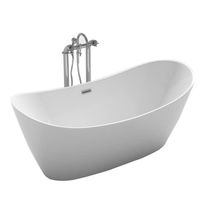 Baignoire Ilot Ovale 170x80 Cm Design Evasé En Acrylique Blanc