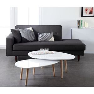 TABLE BASSE GALET Table basse 98 cm laquée blanche