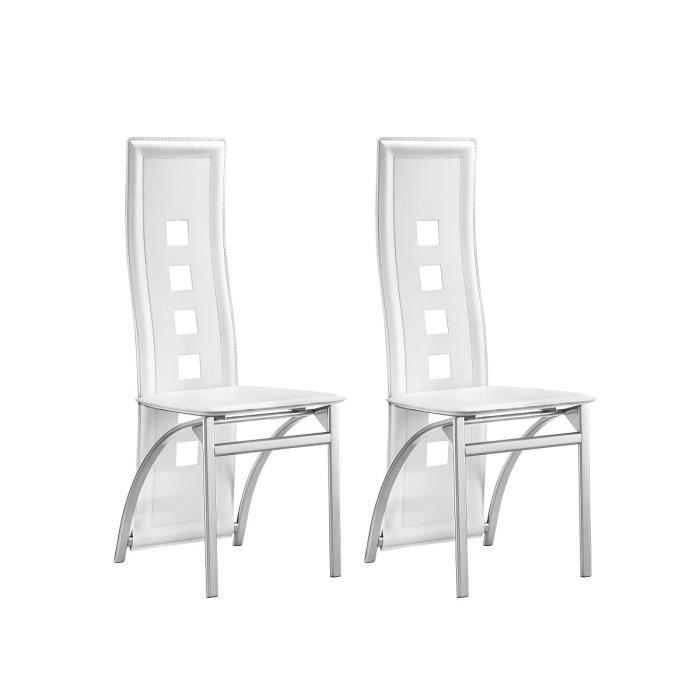 EIFFEL Lot de 2 chaises de salle à manger - Simili blanc - Style  contemporain - L 50 x P 53 cm 53e9e53b9685