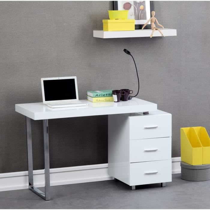 lena bureau 110cm blanc achat vente bureau lena bureau. Black Bedroom Furniture Sets. Home Design Ideas