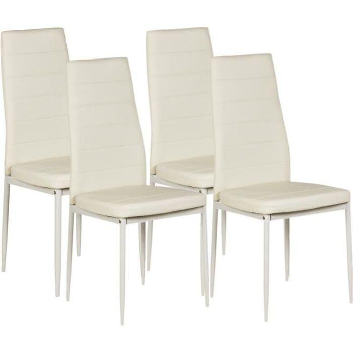 VOGUE Lot de 4 chaises de salle  manger Simili blanc Style