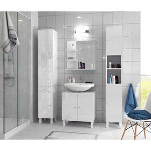 Colonne salle de bain blanc laque achat vente pas cher for Colonne salle de bain 59 cm