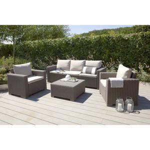 GOA Salon de jardin 5 places en résine tressée et aluminium - Gris ...
