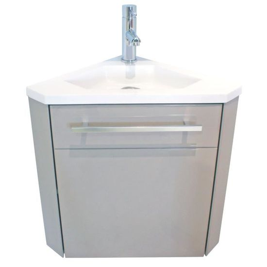 nino meuble sous vasque dangle l 40 cm taupe et blanc mat achat vente meuble vasque plan nino dangle meuble lave mains cdiscount - Meuble Sous Vasque Angle