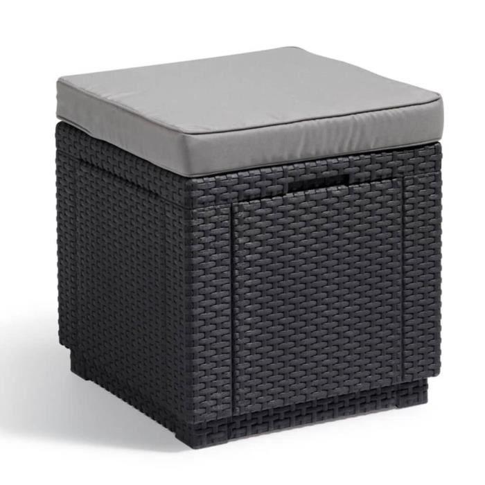 ALLIBERT JARDIN Table-pouf avec coussin et rangement intégré - Imitation  rotin tressé graphite