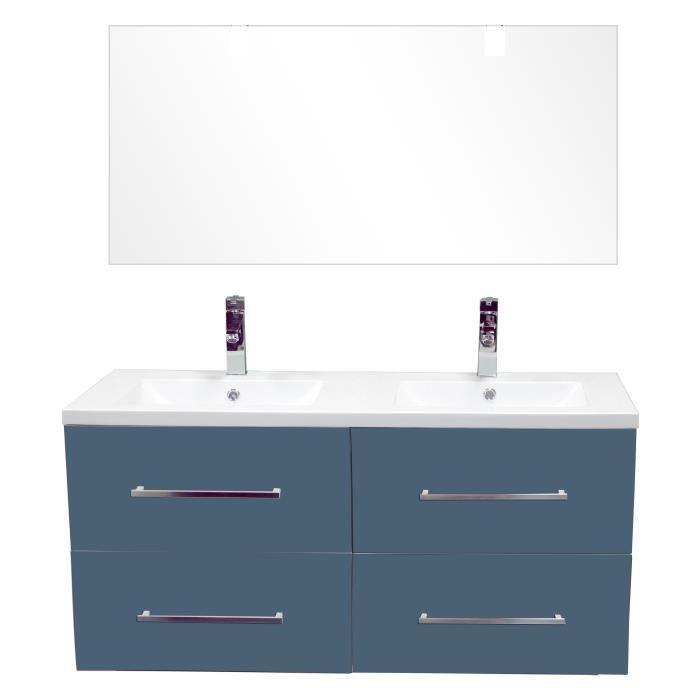 MODULO Salle de bain complète double vasque L 120 cm - Ardoise et ...