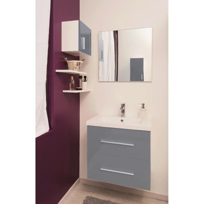 MODULO Salle de bain complète simple vasque L 60 cm - Ardoise et blanc mat