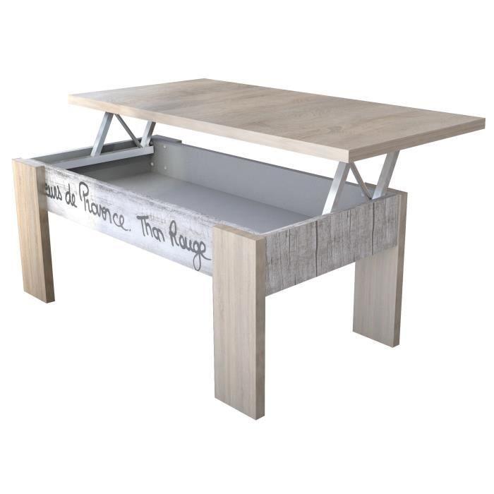 Alpha Table Basse Relevable Style Contemporain Décor Chêne, Blanc