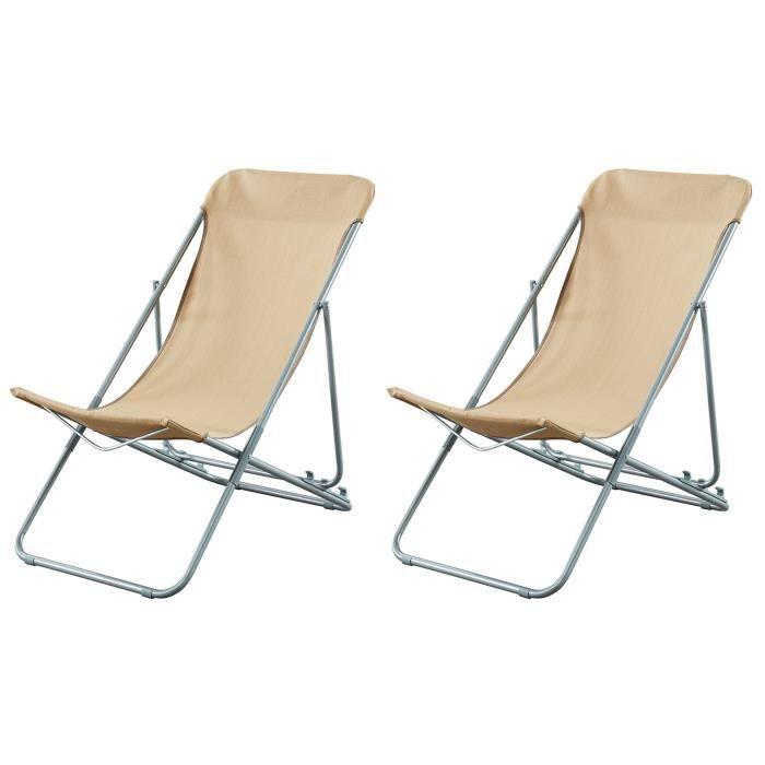 beau rivage set de 2 chaises relax de jardin ibisc - Fauteuil Pliant Relax