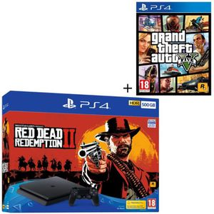 CONSOLE PS4 NOUVEAUTÉ Pack PS4 500 Go + 2 Jeux PS4 : Red Dead Redemption
