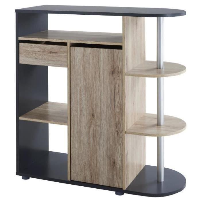 b44925e98cc9b DAMIA Table bar style contemporain décor chêne et gris mat - L 100 ...